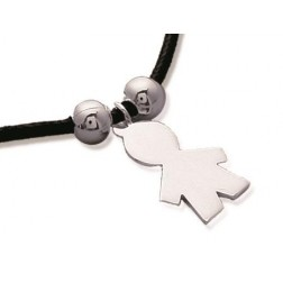 Bracelet réglable avec cordon noir pour enfant en argent, silhouette de garçon