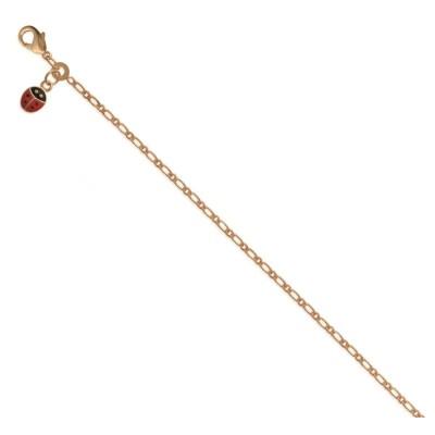 Bracelet pour fille en plaqué or jaune et émail, Coccinelle Rouge