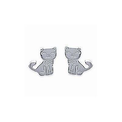 Boucles d'oreilles fille en argent - Chat - Lyn&Or Bijoux
