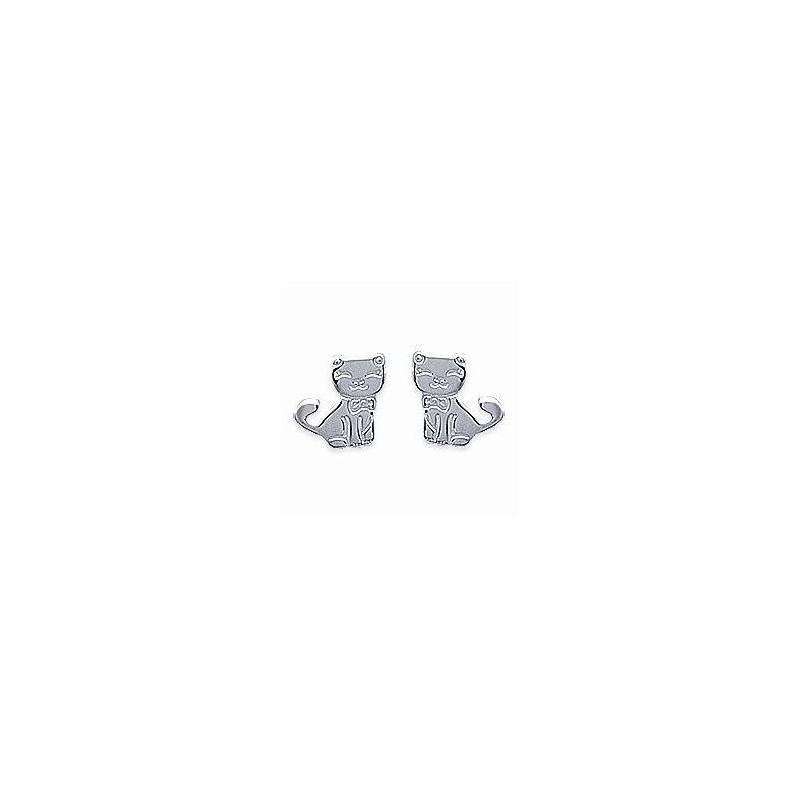 Boucles d'oreilles pour fille en argent 925, Chat