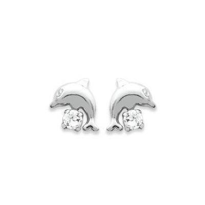 Boucles d'oreille enfant en argent et cristal blanc - Dauphin - Lyn&Or Bijoux
