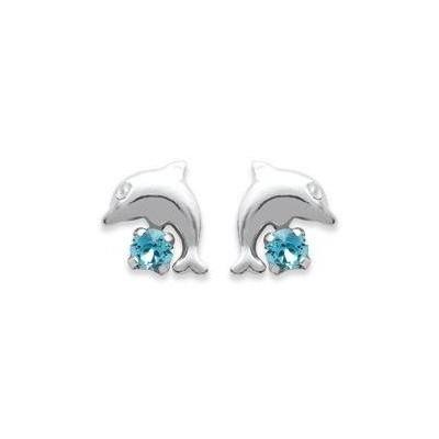 Boucles d'oreilles pour fille en argent 925 et cristal bleu, Dauphin