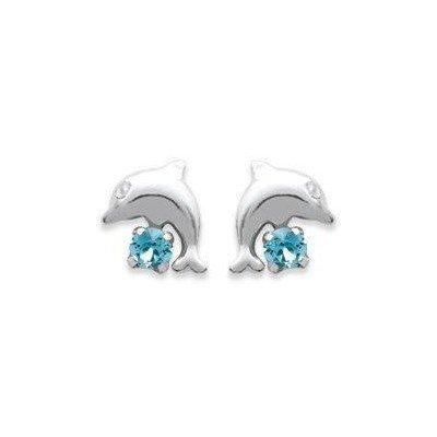 Boucles d'oreilles fille en argent et cristal bleu - Dauphin - Lyn&Or Bijoux