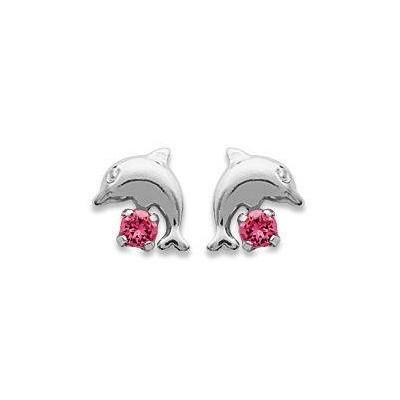 Boucles d'oreilles fille en argent et cristal rose - Dauphin - Lyn&Or Bijoux