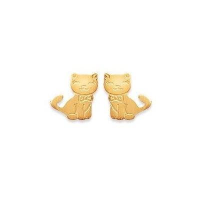 Boucles d'oreilles pour fille en plaqué or, Chat