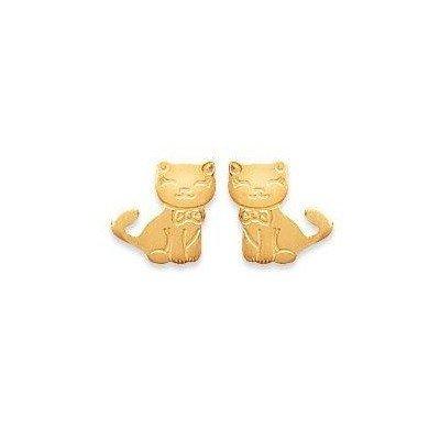 Boucles d'oreilles fille en plaqué or - Chat - Lyn&Or Bijoux