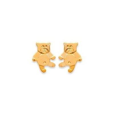 Boucles d'oreilles fille en plaqué or - Ourson-Teddybear - Lyn&Or Bijoux