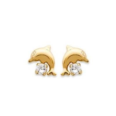 Boucles d'oreilles pour fille plaqué or et cristal blanc, Dauphin