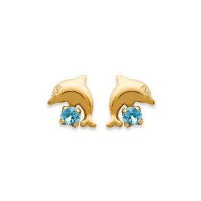 Boucles d'oreilles fille plaqué or et cristal bleu - Dauphin - Lyn&Or Bijoux