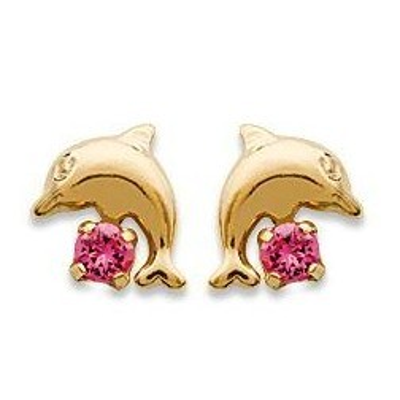 Boucles d'oreilles fille plaqué or et cristal rose - Dauphin - Lyn&Or Bijoux