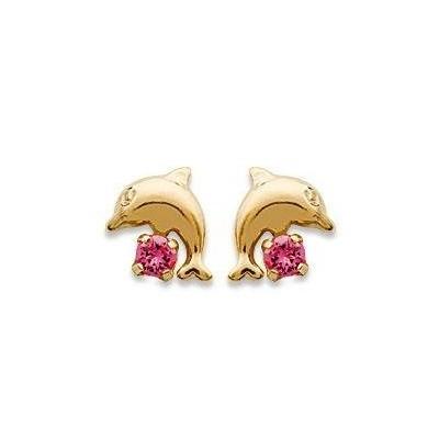 Boucles d'oreilles pour fille plaqué or et cristal rose, Dauphin