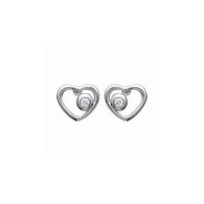 Boucles d'oreilles fille, argent 925 rhodié et zircon, Coeur