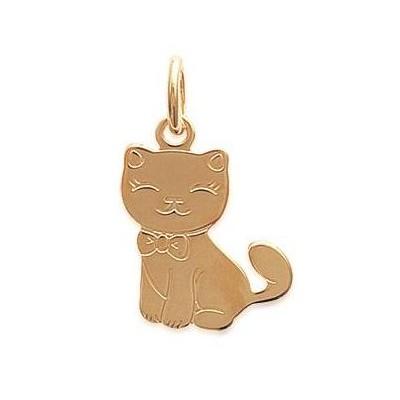 Pendentif en plaqué or jaune collier pour enfant, Chat
