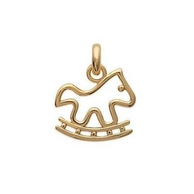 Pendentif en plaqué or jaune collier pour enfant, Cheval à bascule