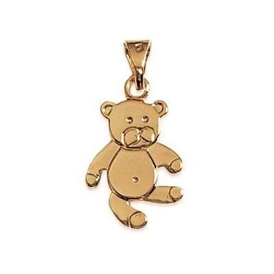 Pendentif en plaqué or jaune collier pour enfant, Ourson-Teddybear