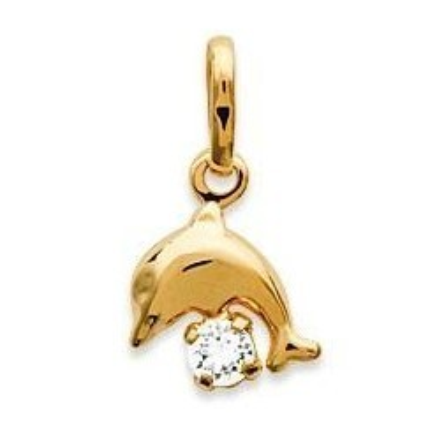 Pendentif enfant en plaqué or et cristal blanc - Dauphin - Lyn&Or Bijoux