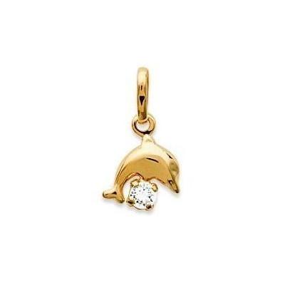 Pendentif en plaqué or jaune collier pour enfant et cristal blanc, Dauphin