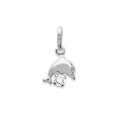 Pendentif en argent 925 collier pour enfant en et cristal blanc, Dauphin