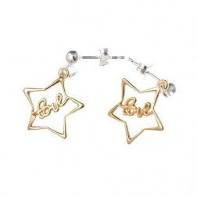 Boucles d'oreille femme, étoile en argent bicolore - Love - Lyn&Or Bijoux