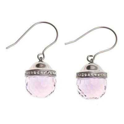 Boucles d'oreille pour femme en acier & verre rose - Faya - Lyn&Or Bijoux