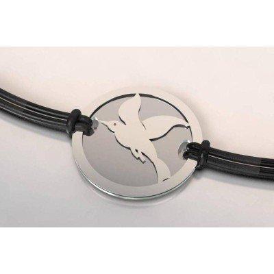 Bracelet créateur, acier et argent pour femme - Oiseau - Lyn&Or Bijoux