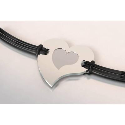 Bracelet de créateur en acier et argent pour femme - Coeur - Lyn&Or Bijoux