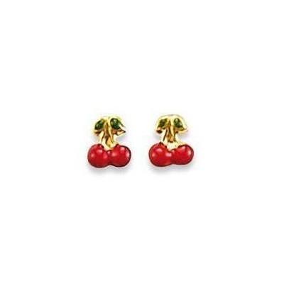 Boucles d'oreilles pour fille en or, Cerises rouges - Chéries Cherry - Lyn&Or Bijoux