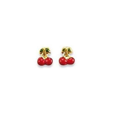 Boucles d'oreilles fillette en or 18 caras, cerises rouges