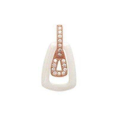 Pendentif or rose, zircon, céramique blanche pour femme - Dana - Lyn&Or Bijoux