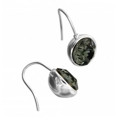 Boucles d'oreille créateur femme, en argent & Swarovski Noir - Boules - Lyn&Or Bijoux