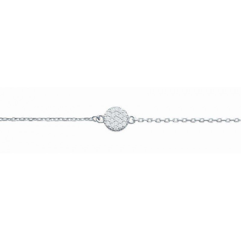 Bracelet argent pour femme, rond zircon