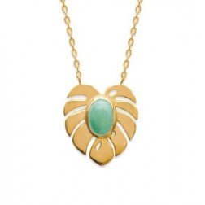 Collier en plaqué or et aventurine verte pour femme - Yvana - Lyn&Or Bijoux