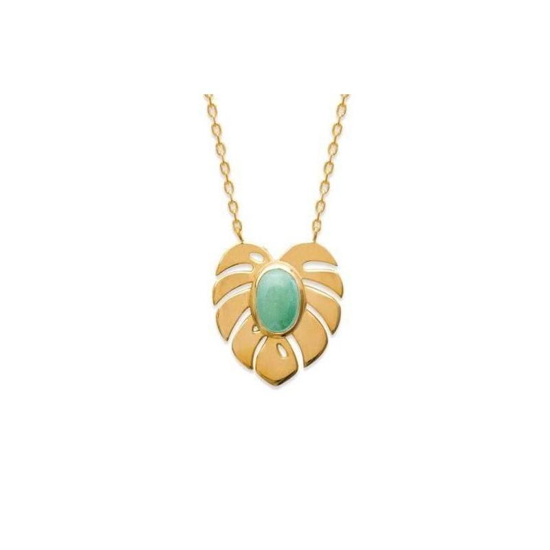 Collier femme pierre verte en plaqué or
