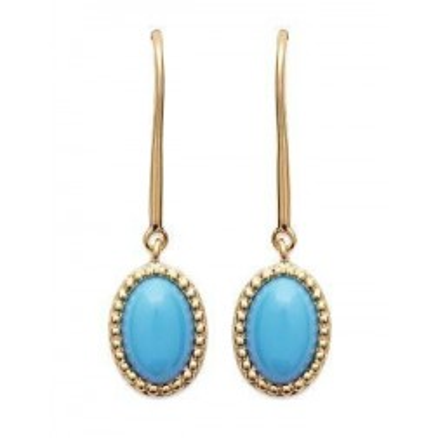 Boucles d'oreilles pierre turquoise et plaqué or pour femme