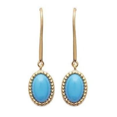 Boucles d'oreilles en plaqué or et turquoise synthétique - Bornéo - Lyn&Or Bijoux