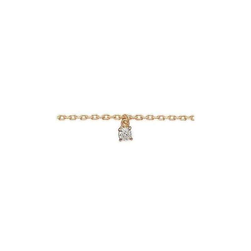 Bracelet de cheville femme en plaqué or jaune 18k et zircon