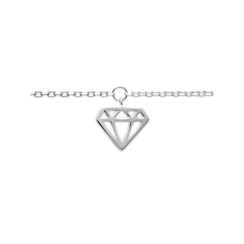 Chaîne de cheville femme en argent 925 rhodié, Diamant