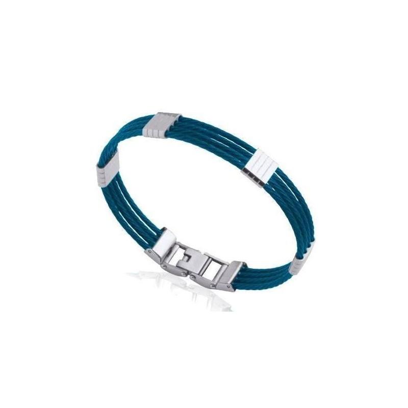 Bracelet rigide pour homme en acier bleu, Bijoux Homme