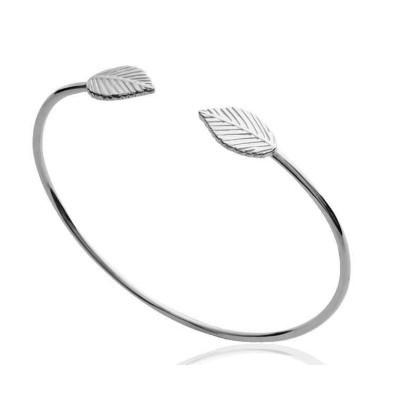 Bracelet rigide ouvert pour femme en argent, motif Feuille