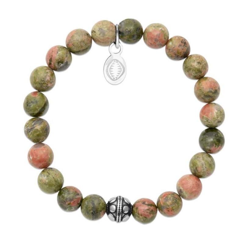 Bracelet en pierres naturelles Unakite et acier pour femme, marque Shark'n Stones