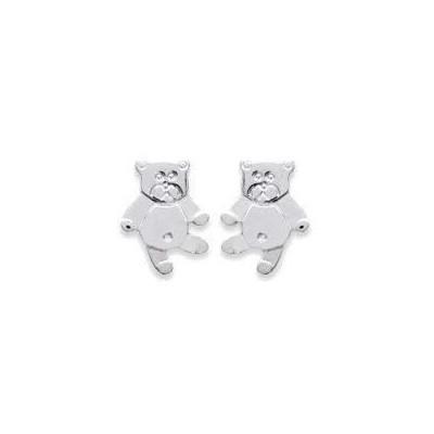 Boucles d'oreilles pour fille en argent 925 rhodié, Ourson-Teddybear