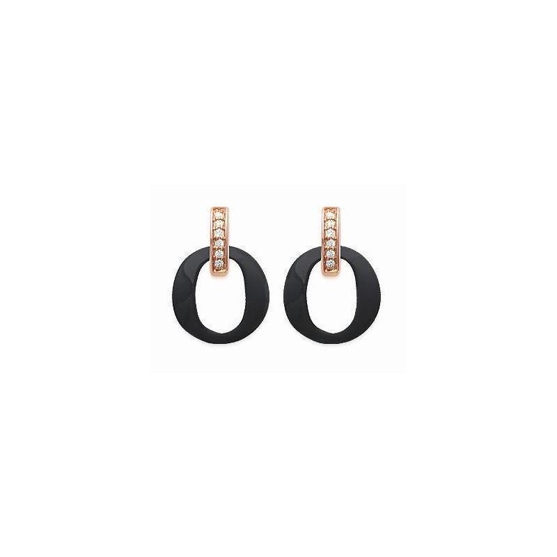 Boucles d'oreilles céramique noire & or rose - Oméga