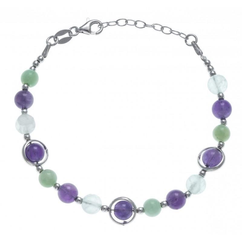 Bracelet amazonites, fluorites, améthystes - Imana - Lyn&Or Bijoux