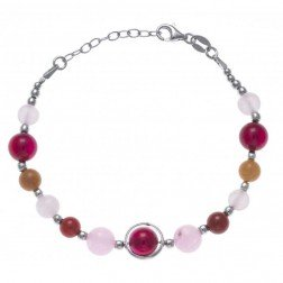 Bracelet femme, pierres d'agate, cornaline, aventurine - Amaya - Lyn&Or Bijoux