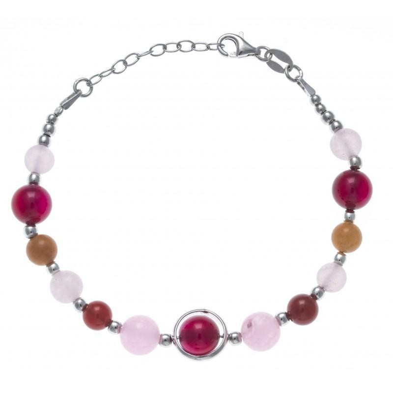 Bracelet pierres d'agate, cornaline, aventurine - Amaya