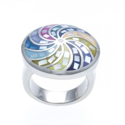 Bague multicolore pour femme en acier, bijou créateur!