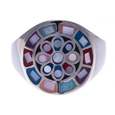 Bague colorée pour femme en acier et émail, Odena
