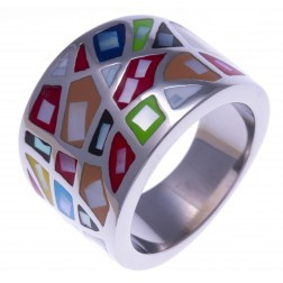 Bague pour femme, de créateur multicolore en acier et émail