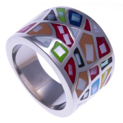 Bague pour femme en acier, émail multicolore - Bengal - Lyn&Or Bijoux