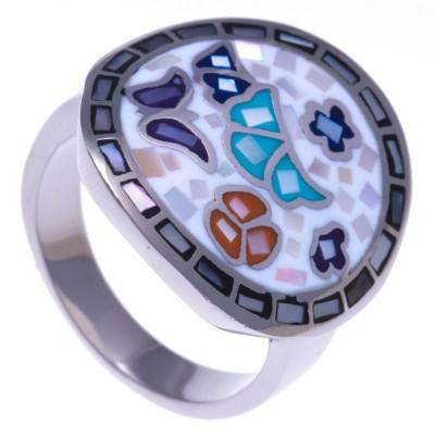 Bague en nacre, acier et émail coloré pour femme: bijou créateur Odena!